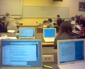 Photo of Apple computers in classroom
